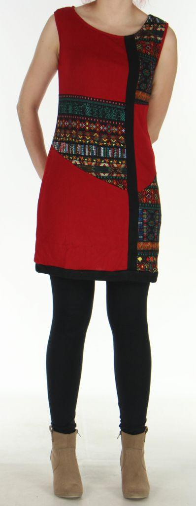 Robe en maille sans manches Originale et Colorée Tatiana Rouge 276405