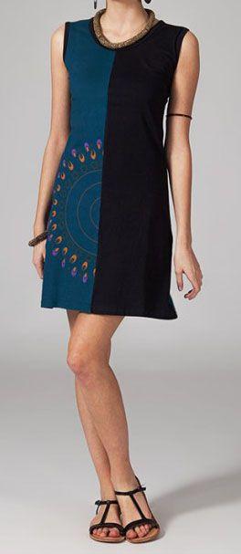Robe ethnic noire et bleue Sabria 269046