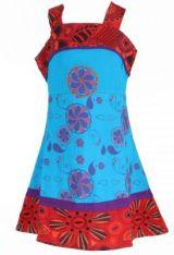 Robe ethnique à fleur pour fille bleue Karine 269510