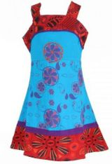 Robe ethnique � fleur pour fille bleue Karine 269510