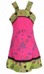 Robe ethnique à fleur pour fille rose Karine 269519