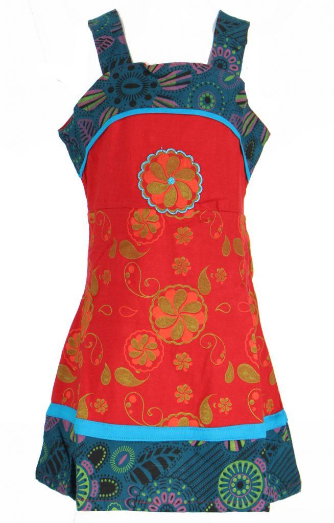 Robe ethnique à fleur pour fille rouge Karine 269523