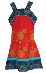Robe ethnique à fleur pour fille rouge Karine 269524