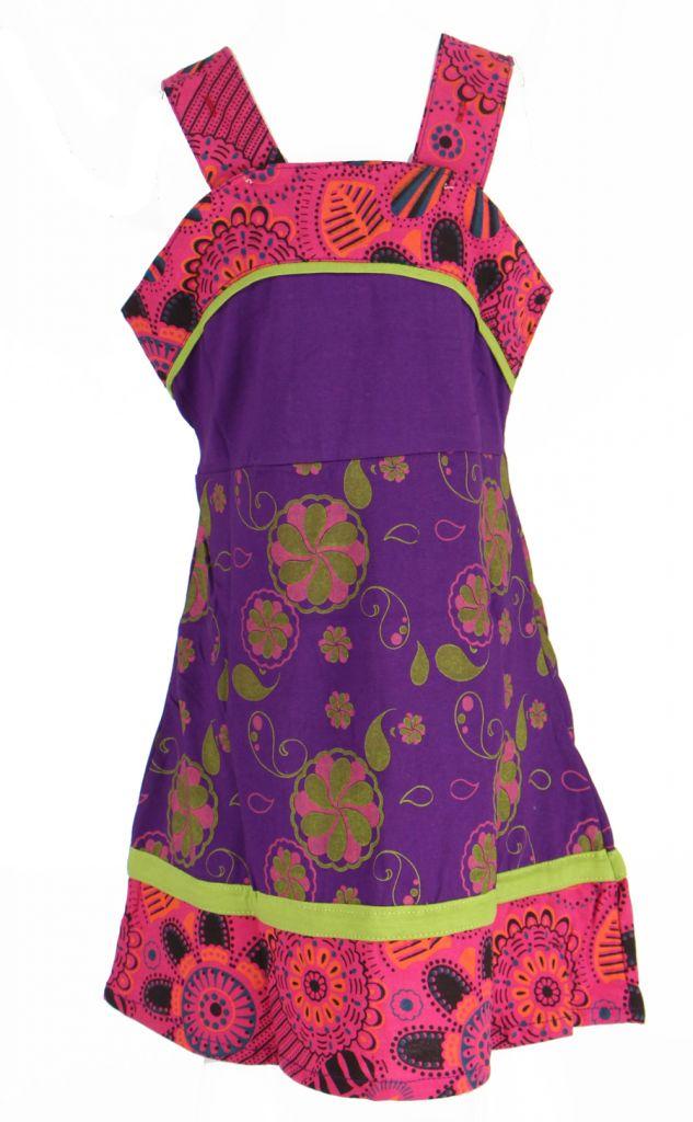 Robe ethnique à fleur pour fille violette Karine 269527