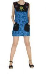 Robe ethnique avec poches noire et bleue Josy 268403