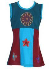 Robe ethnique bébé et enfant bleue Flower 270975
