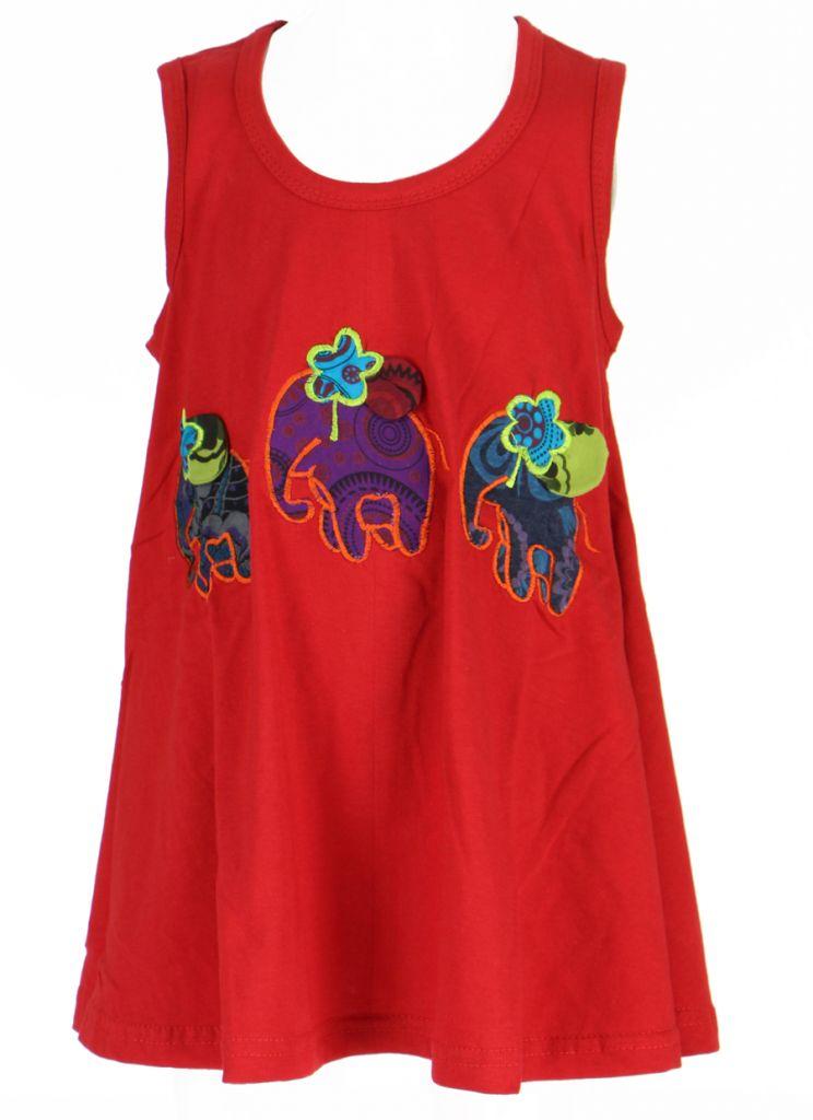 Robe ethnique bébé et fille rouge Eléphant 270931