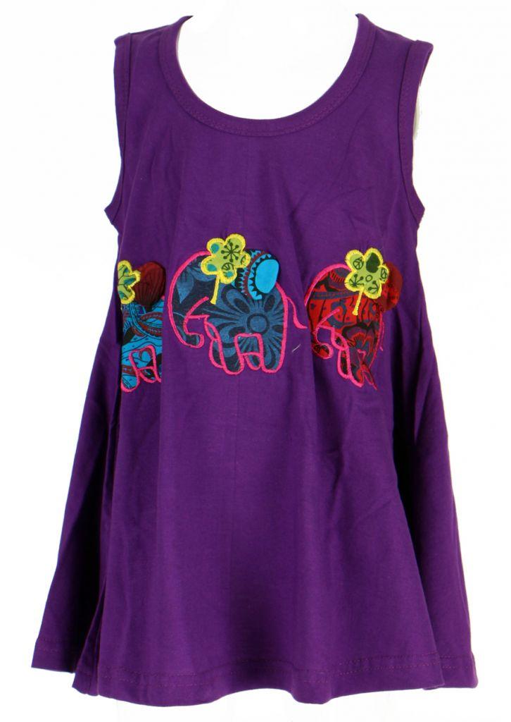 Robe ethnique bébé et fille violette Eléphant 270939