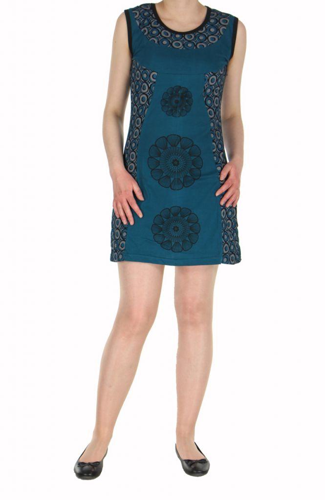 Robe ethnique bleue rosace Léonie 270042