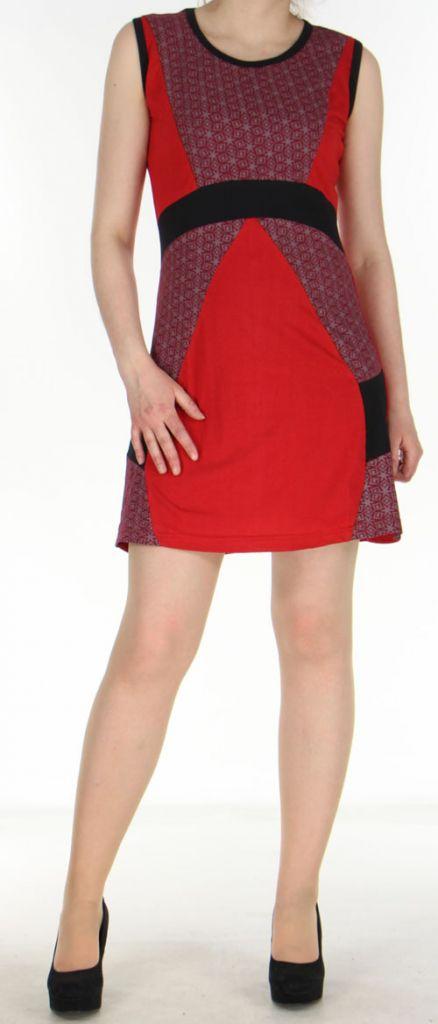 Robe ethnique-chic d'été pas chère rouge Amandine 270564