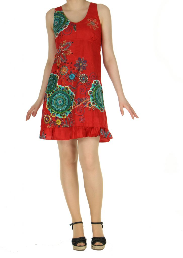 Robe ethnique d'été de couleur rouge Elodie 268273