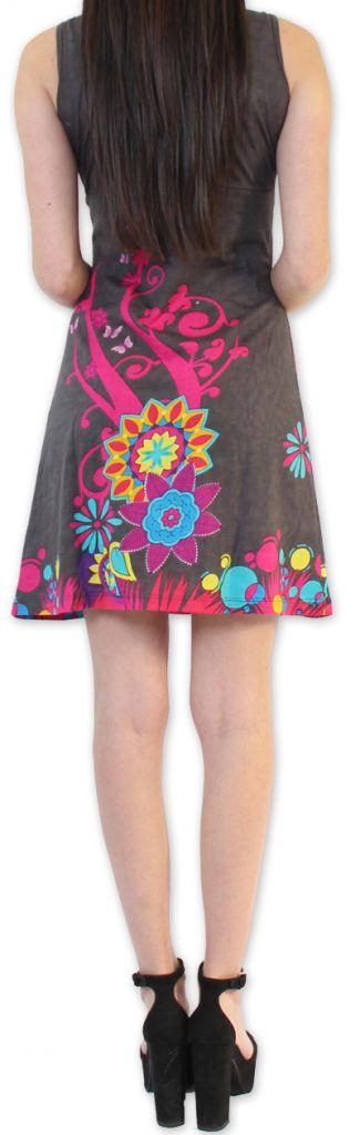 Robe Ethnique et Colorée d'été à col V  Elenna Grise 276937