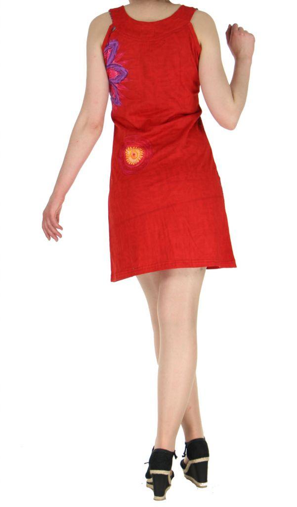 Robe ethnique et colorée rouge Fatika