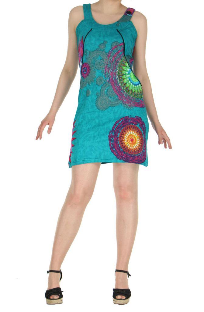 Robe ethnique et colorée turquoise Fatika 269710