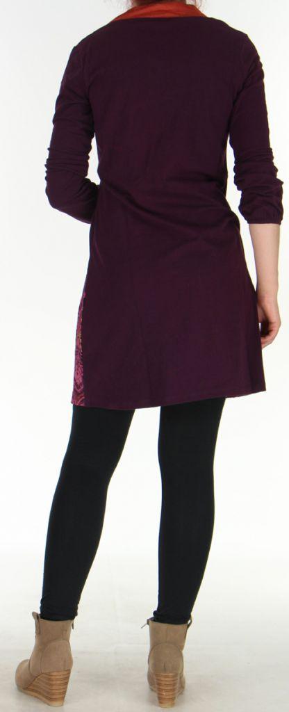 Robe Ethnique et Originale à manches longues Tesmine Prune 276385