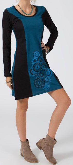 Robe ethnique et originale pas chère bleue Melodie