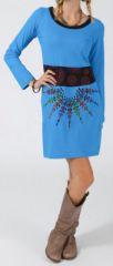 Robe ethnique et originale pas ch�re bleue Mirzat 274629