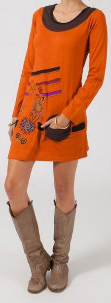 Robe ethnique et originale pas chère orange Olivia