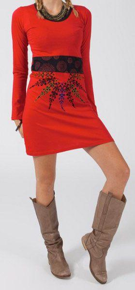 Robe tunique ethnique et originale pas ch re rouge mirzat - Credence originale pas chere ...