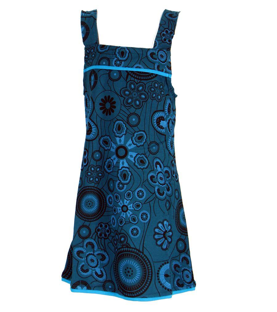 Robe ethnique imprimée bleue pour fille Lucia 268601