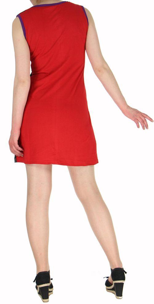 Robe ethnique rouge pas chère en coton du Népal Tricy 270435