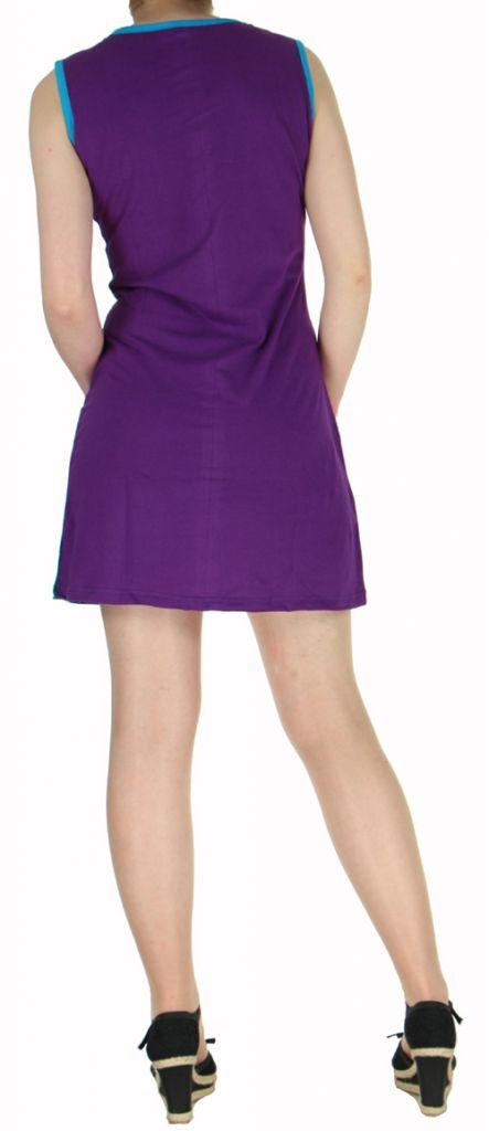 Robe ethnique violette pas chère en coton du Népal Tricy 270437