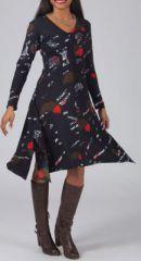 Robe évasée et fendue Ethnique et Originale Lizzy Noire 274997