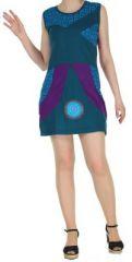 Robe femme d'été bleue du Népal style ethnique Muriela 270420