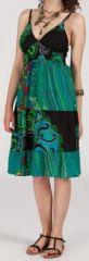 Robe femme d'été originale à col V Marine 271825