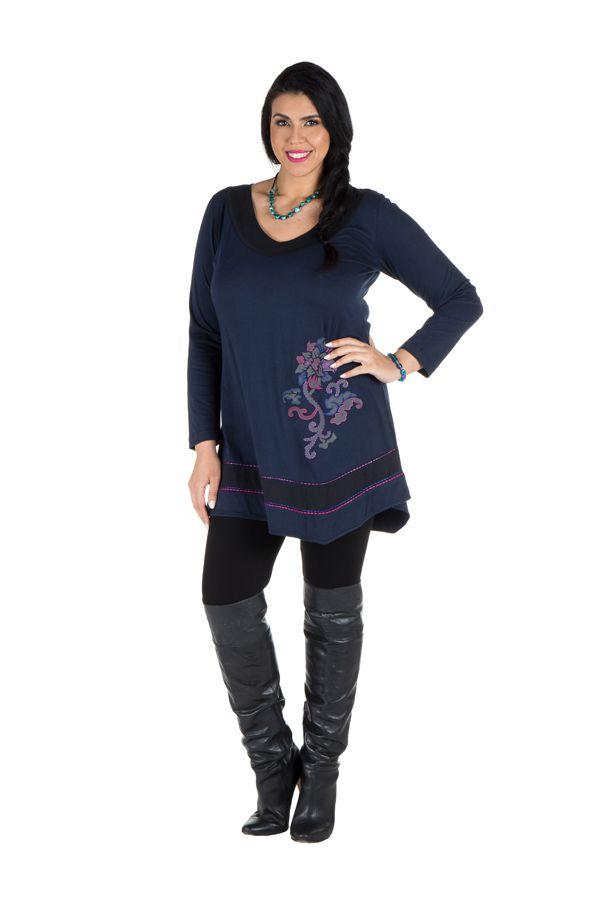 Robe femme ronde courte à manches longues Bleue avec col en V Samia 301728