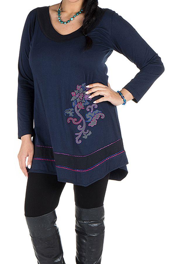 Robe femme ronde courte à manches longues Bleue avec col en V Samia 301729