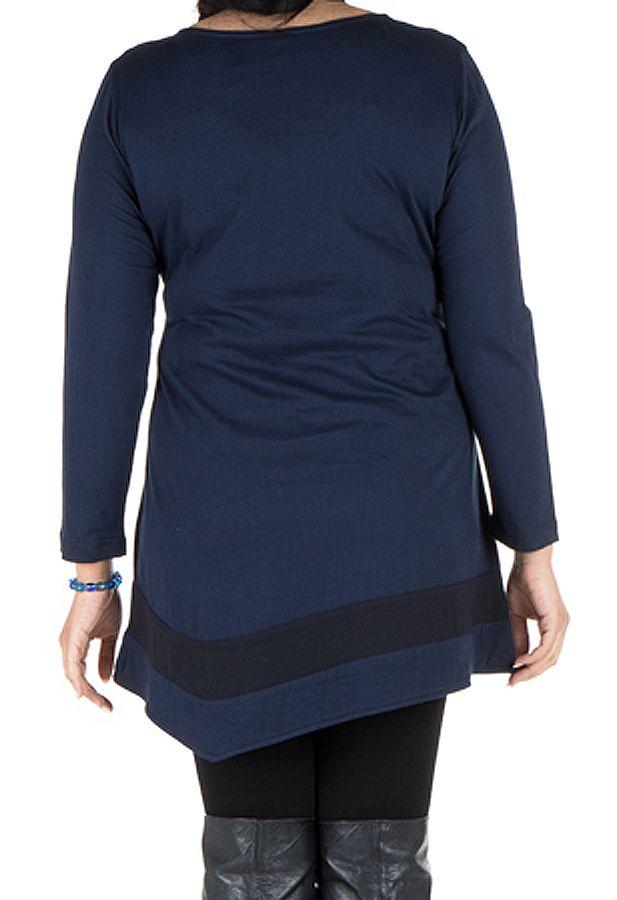 Robe femme ronde courte à manches longues Bleue avec col en V Samia 301730