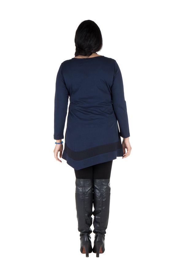 Robe femme ronde courte à manches longues Bleue avec col en V Samia
