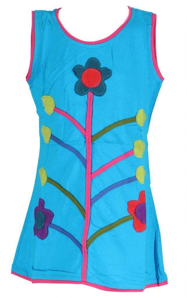 Robe fille bleue motif fleur Carla 268660