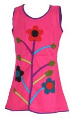 Robe fille rose motif fleur Carla 268657
