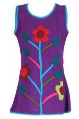 Robe fille violette motif fleur Carla 268662