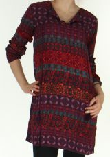 Robe Fluide à manches longues Ethnique et Colorée Uliana Bordeaux 276422