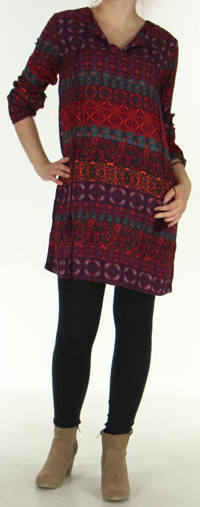 Robe Fluide à manches longues Ethnique et Colorée Uliana Bordeaux 276423