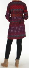 Robe Fluide à manches longues Ethnique et Colorée Uliana Bordeaux 276424