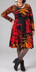 Robe grande taille Ethnique et Imprim�e Kaelia Orange et Rouge 274901