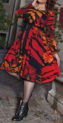 Robe grande taille Ethnique et Imprimée Kaelia Orange et Rouge 274902