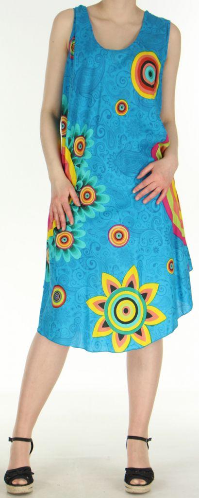 Robe grande taille originale et ethnique  Bleue  Asmita 272386
