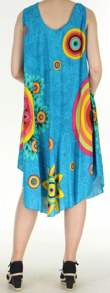 Robe grande taille originale et ethnique  Bleue  Asmita 272387
