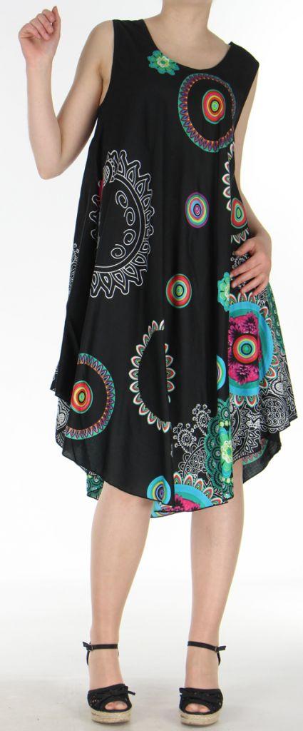 Robe grande taille originale et ethnique  Noire  Asmita 272388