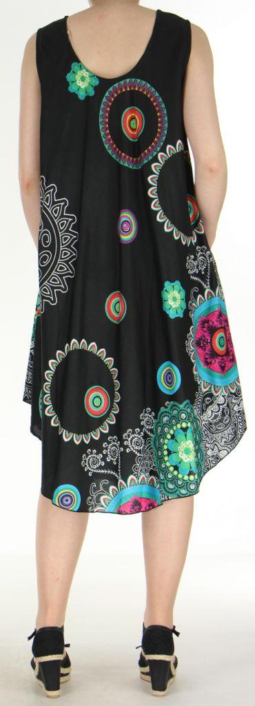 Robe grande taille originale et ethnique  Noire  Asmita 272389