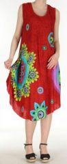 Robe grande taille originale et ethnique  Rouge  Asmita 272384
