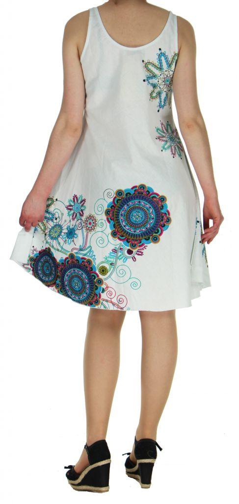 Robe imprimée de couleur blanche Shyna