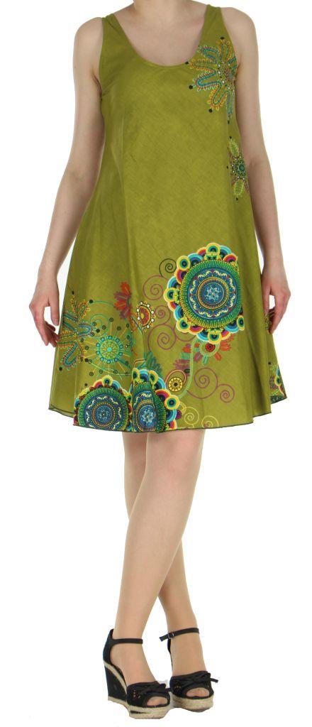 Robe imprimée de couleur kaki Shyna 269696
