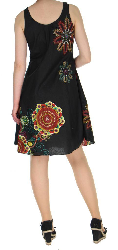 Robe imprimée de couleur noire Shyna