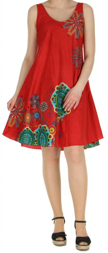 Robe imprimée de couleur rouge Shyna 269694